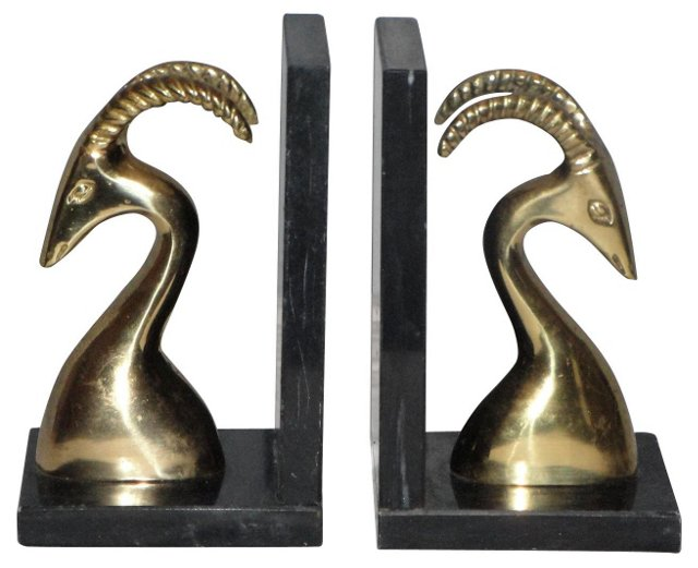 Brass Oryx Bookends