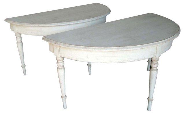 Gustavian Demilune Tables, Pair