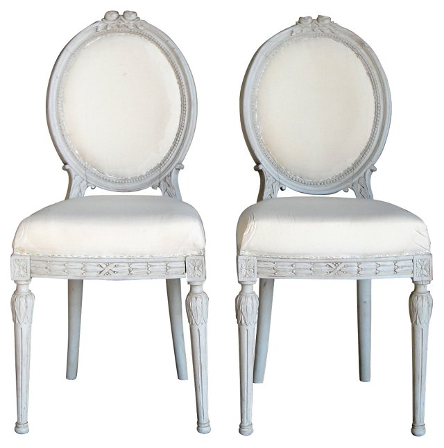 Gustavian Rosette Side Chairs, Pair