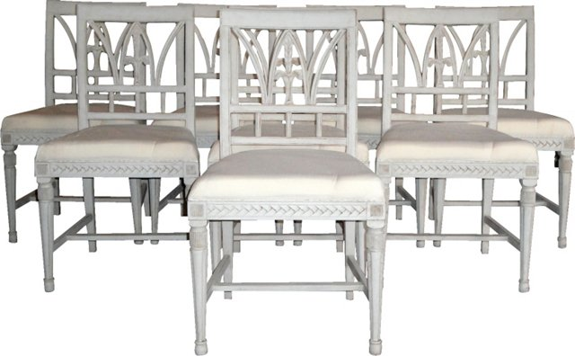 Pastoral Gustavian Dining Chairs, S/8