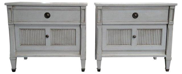 Gustavian-Style Nightstands, Pair