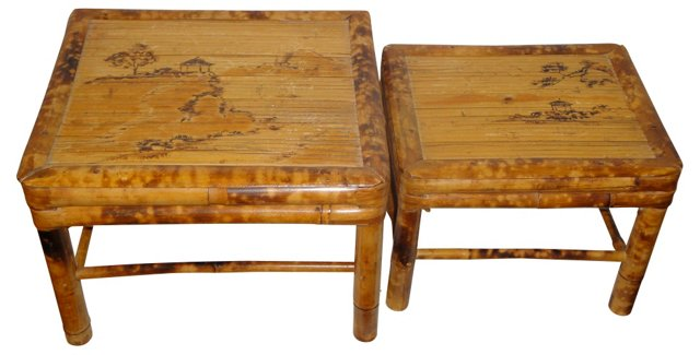 Chinese Bamboo Footstools, Pair
