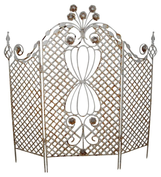 White Wrought Iron Fireplace Screen