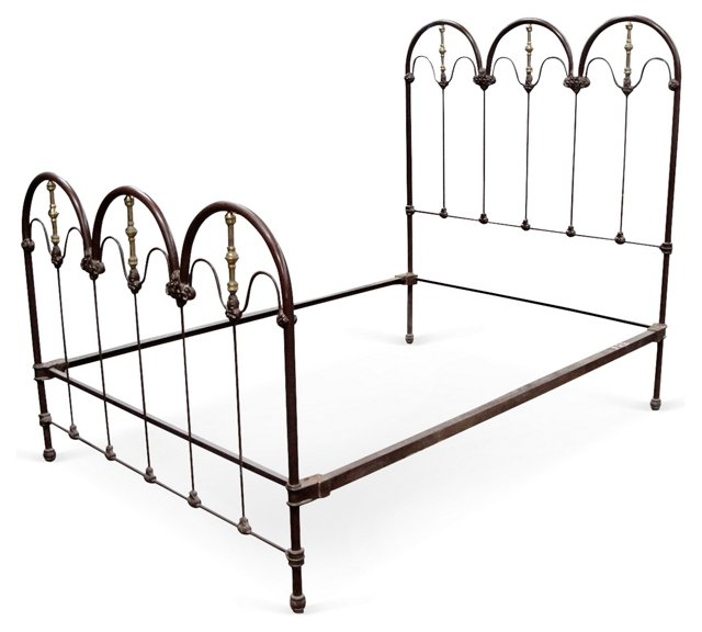 19th-C. Iron & Brass Full-Size Bed