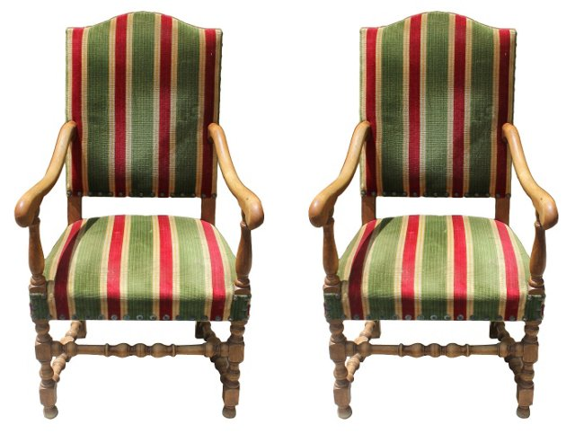 French Louis XIII-Style  Armchairs, Pair