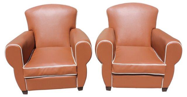 Art Deco Club Chairs, Pair