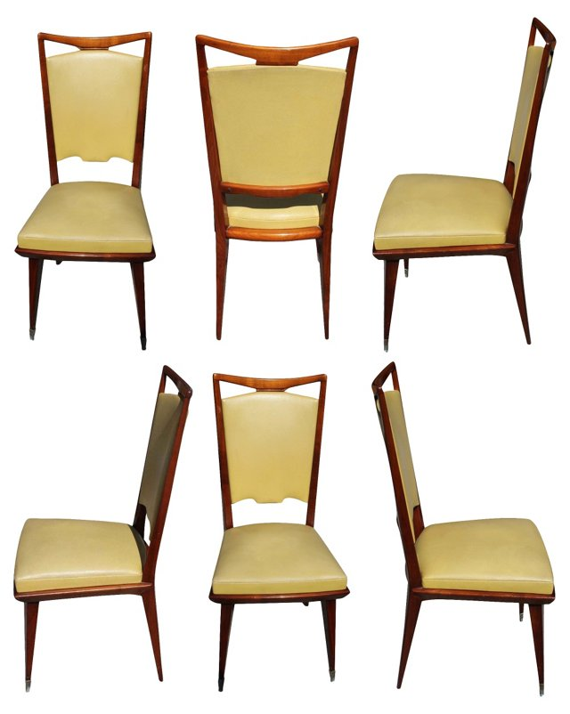 Art Deco Walnut Dining Chairs, S/6