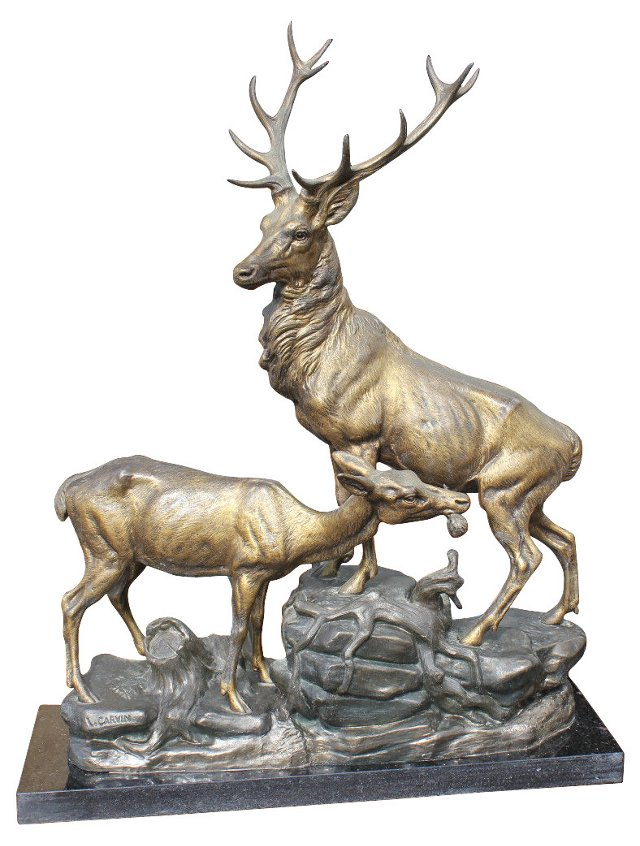 French Deco Deer Sculpture by Carvin