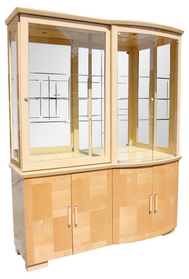 Italian Deco-Style  Maple Display Case