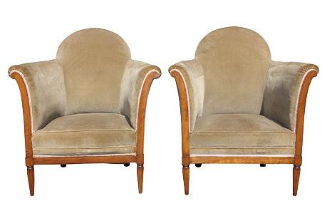 French Art Deco Designer Club Chairs, Pr