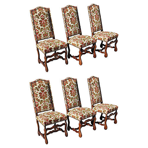 Louis XIII-Style Red Dining Chairs, S/6