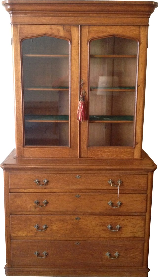 English Oak Gallery Bookcase