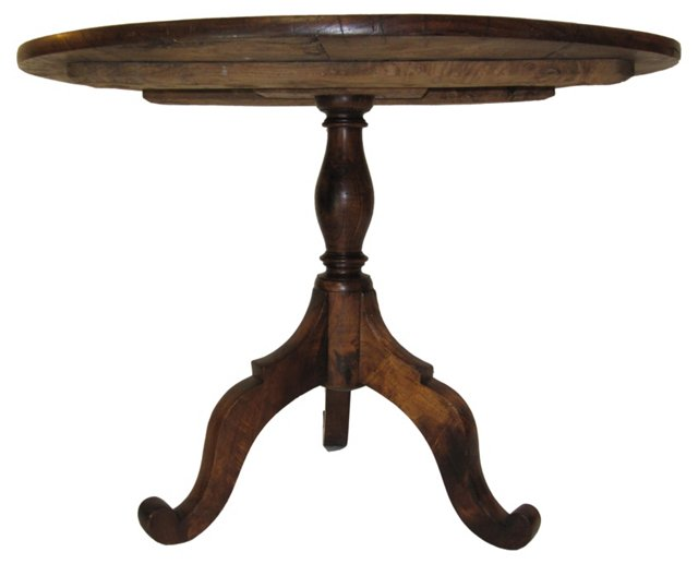 19th-C.  French Burl Elm Table
