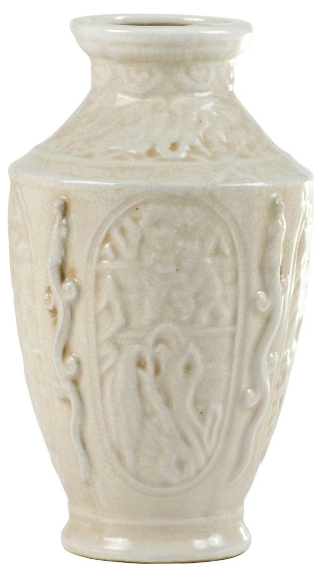 Cream Crackle Relief Vase
