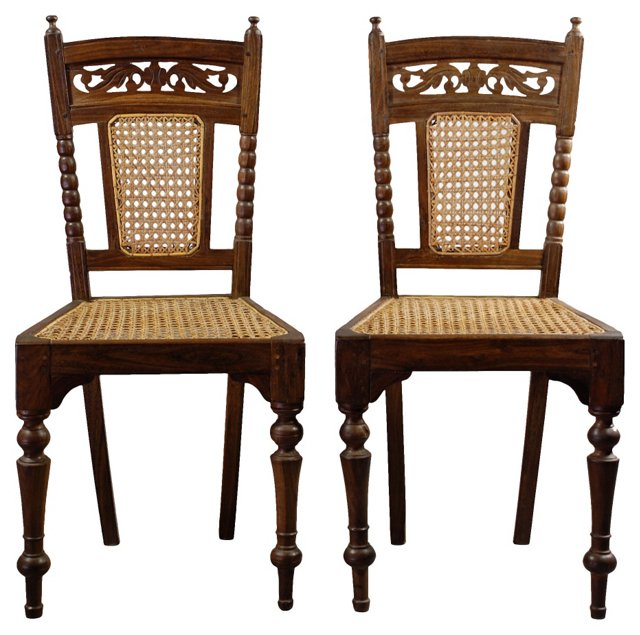 Ceylon Side Chairs, Pair