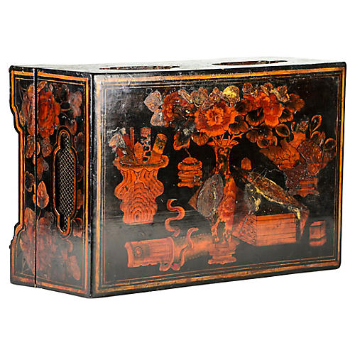Antique Lacquer Box w/ Trays
