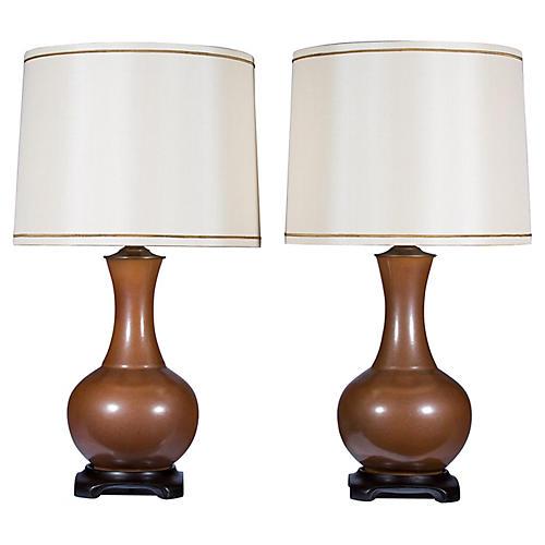 Rust Porcelain Lamp Pair, S/2