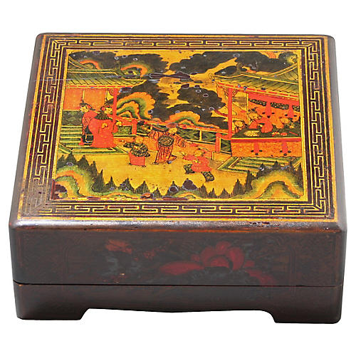 Antique Lacquer Box with Compartments