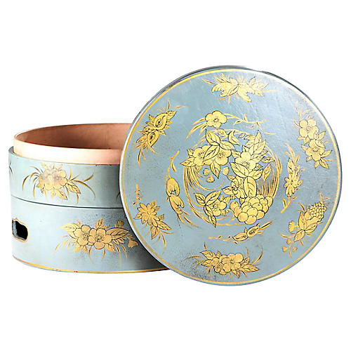 Blue & Gold Leather Sewing Boxes, S/2