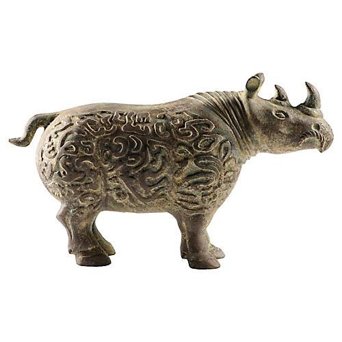 Bronze Rhinoceros with Buried Patina