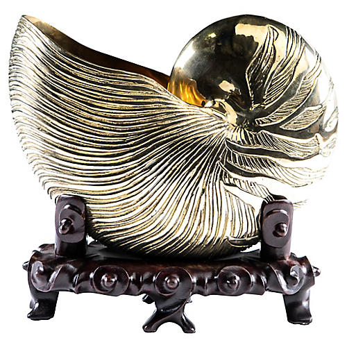 Brass Nautilus on Carved Wave