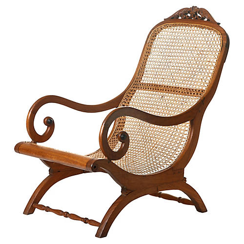 Ceylon teak ebonized wood cane chair