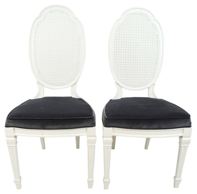 White Cane-Back  Chairs, Pair