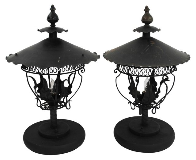 Converted Gas Lamps, Pair