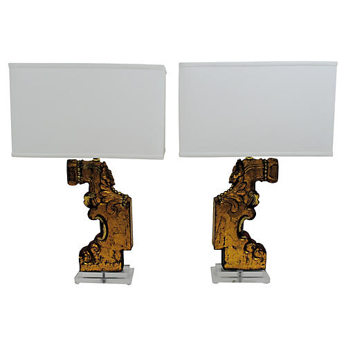 Carved Architectural Lamps, Pair