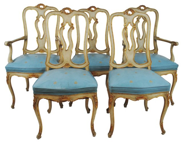 Louis XV-Style Dining Chairs, S/5