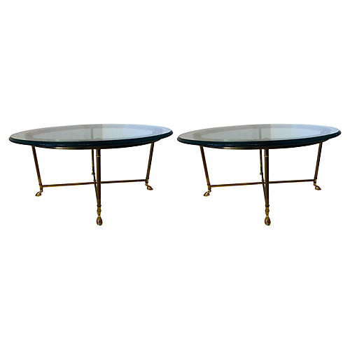 Brass & Glass Accent Tables, Pair