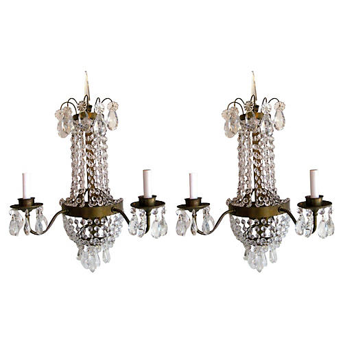 Brass & Crystal Sconces, Pair