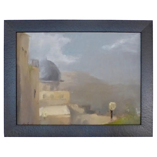 Village Scene w/ Dome Painting by Rafael