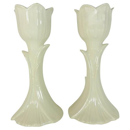 Ceramic Flower Candleholders, S/2