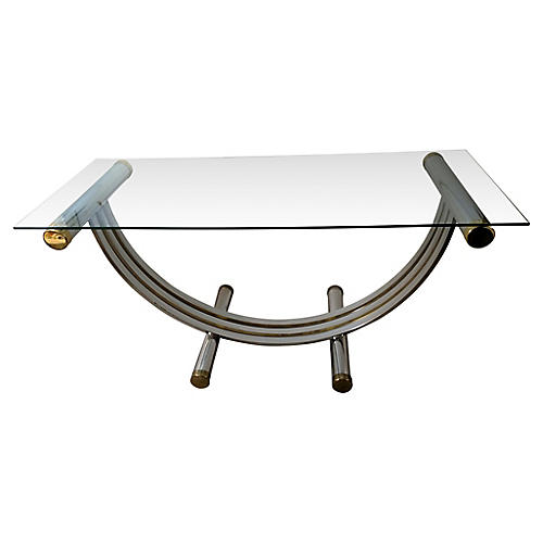 Brass & Chrome Curved Console