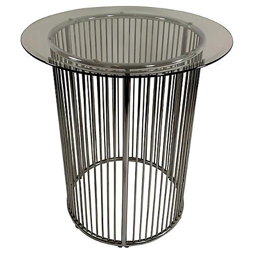 Platner-Style Round Chrome Table