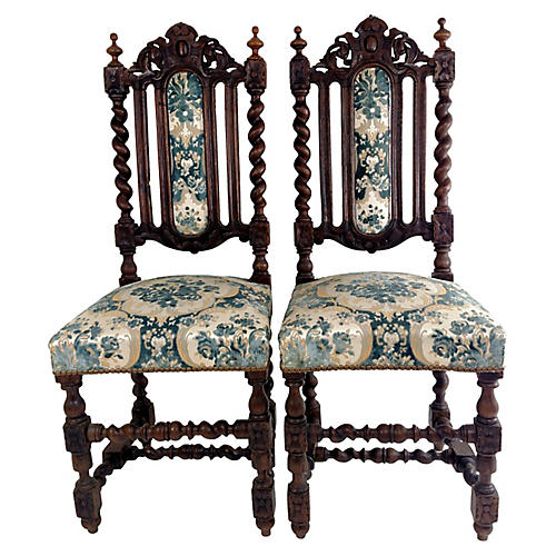 Hand-Carved Oak Side Chairs, Pair
