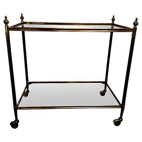 Brass Bar Cart w/ Cast Finials