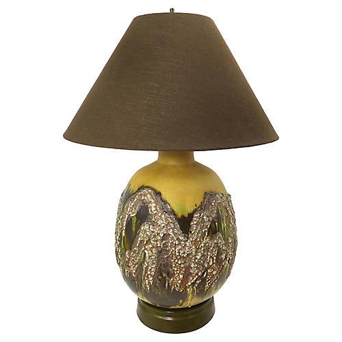 Overscale Brutalist Lamp w/ Lava Glaze
