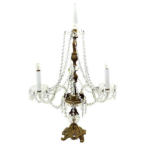 Crystal & Brass Candelabra Lamp