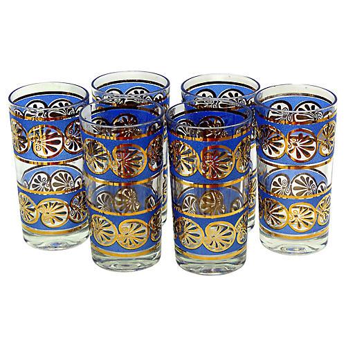 Blue & Gold Plate Highball Glasses, S/6