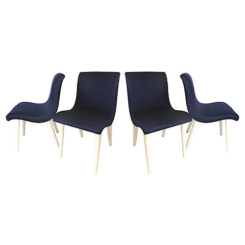 Midcentury Velvet Side Chairs, S/4