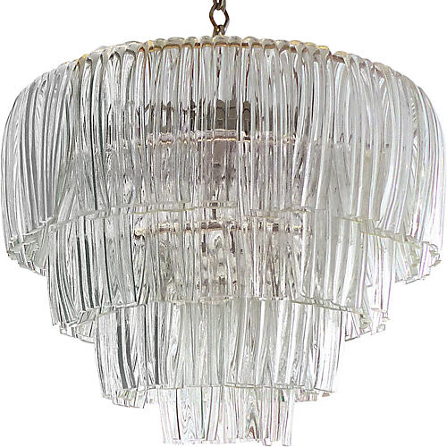 4-Tier Glass Chandelier, C.1960
