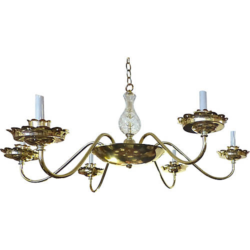 Large Vintage Brass Plated Chandelier