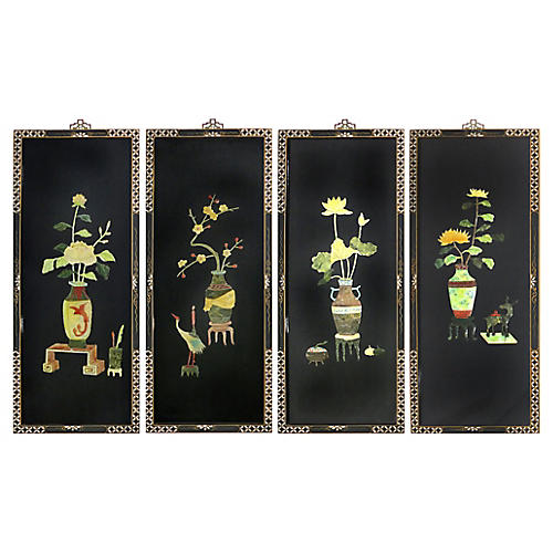 Lacquered Asian Panels w/ Stones, S/4