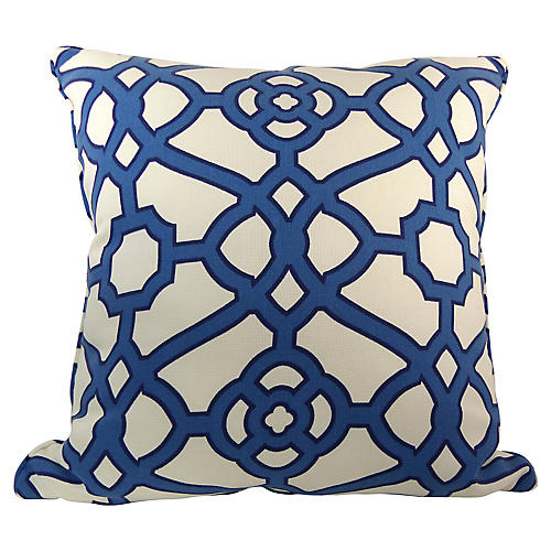 Blue & White Lattice Pillow