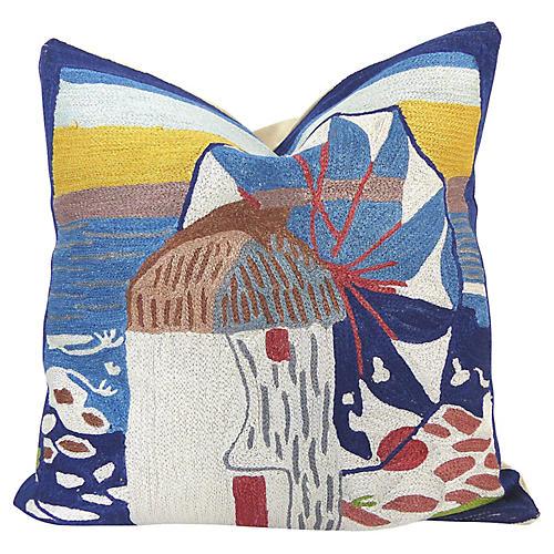 Greek Beach Crewel Pillow