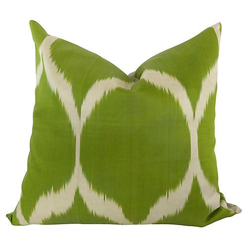 Green & Off-White Silk Ikat Pillow