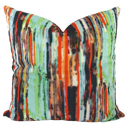 Striped Multicolor Velvet Pillow