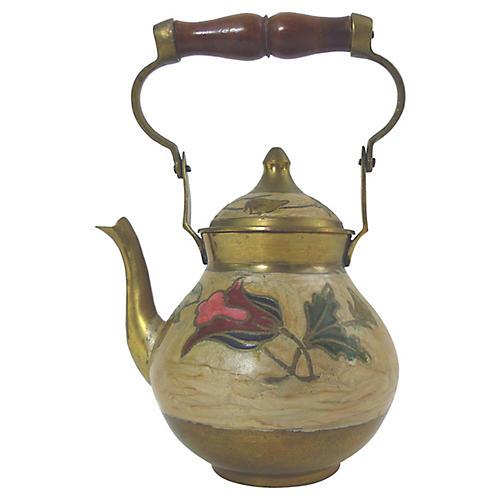 Brass Cloisonné Tea Pot w/ Lid